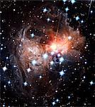 Light echoes around star V838 Monocerotis, Hubble Space Telescope image. This star underwent a massive brightening, or nova, in 2002. Since then, the light released by this event has illuminated a series of shells of gas and dust that surrounded the star. The shells are thought to have been formed by ejections from the star in its past. The 2002 nova is unusual in that the star's outer layers were Stock Photo - Premium Royalty-Free, Artist: Visuals Unlimited, Code: 679-02684166