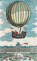 First manned hydrogen balloon flight. Jacques Alexandre Cesar Charles (1746-1823) and Marie-Noel Robert, French balloonists, making the first manned hydrogen balloon flight. They rode in the balloon 'La Charliere' on 1 December 1783, ascending above the Tuileries Gardens, Paris, France. Stock Photo - Premium Royalty-Freenull, Code: 679-02684270