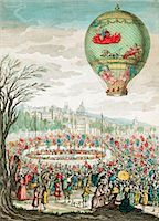 Early hot air balloon flight. This balloon, 'Le Flesselles', ascended over Lyon, France, on 1 January 1784, carrying seven passengers, which included the French balloonists Joseph Montgolfier (1740-1810) and Jean-Francois Pilatre de Rozier (1754-1785). Stock Photo - Premium Royalty-Freenull, Code: 679-02684271