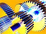 Gear wheels, computer artwork. Gear wheels, or cogs, transmit rotational force within machines. Stock Photo - Premium Royalty-Free, Artist: imagebroker, Code: 679-02685188