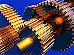 Gear wheels, computer artwork. Gear wheels, or cogs, transmit rotational force within machines. Stock Photo - Premium Royalty-Free, Artist: Westend61, Code: 679-02685189