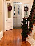 Entrance of Upscale Home Decorated for Christmas    Stock Photo - Premium Rights-Managed, Artist: Natasha Nicholson, Code: 700-02686578