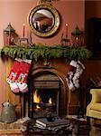 Fireplace in Living Room Adorned with Christmas Decor    Stock Photo - Premium Rights-Managed, Artist: Natasha Nicholson, Code: 700-02686579