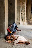 Homeless People Sleeping at Angkor Wat, Cambodia    Stock Photo - Premium Rights-Managednull, Code: 700-02693945