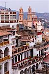 View of Buildings and Church of Santa Prisca, Taxco, Guerrero, Mexico