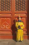 Woman Dressed in Traditional Clothing at the Gate of Heavenly Peace, Tiananmen Square, Forbidden City, Beijing, China