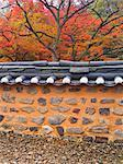 Temple Wall and Autumn Leaves, Seonun Temple, Mt Seonun, Seonunsan Provincial Park, Jeollabuk-do, South Korea    Stock Photo - Premium Rights-Managed, Artist: Chris McGuire, Code: 700-02698400