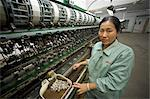 Woman Working in No. 1 Silk Factory in Suzhou, China