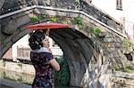 Woman With a Parasol Standing Near a Bridge in Suzhou, China