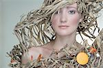 Portrait of Woman Wearing Outfit Made Out of Recycled Cardboard    Stock Photo - Premium Rights-Managed, Artist: Apolonia, Code: 700-02701006
