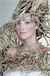 Portrait of Woman Wearing Outfit Made Out of Recycled Cardboard Stock Photo - Premium Rights-Managed, Artist: Apolonia, Code: 700-02701007