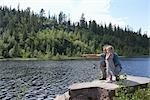 Father and Daughter Fishing, Norway    Stock Photo - Premium Rights-Managed, Artist: Anders Hald, Code: 700-02702602