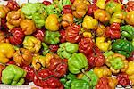 Close-up of peppers for sale on a food stall, Arima, Trinidad, West Indies, Caribbean, Central America