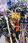 Portrait of a boy in costume and facial paint, Mardi Gras, Dinagyang, Iloilo City, island of Panay, Philippines, Southeast Asia, Asia