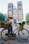 Woman selling flowers off her bicycle, Hanoi, Vietnam, Indochina, Asia    Stock Photo - Premium Rights-Managed, Artist: Robert Harding Images, Code: 841-02704426