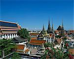 The temple buildings and spires of Wat Po in Bangkok, Thailand, Southeast Asia, Asia