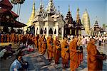 Line of monks in procession, Shwe Dagon Pagoda Complex, Yangon (Rangoon), Myanmar (Burma), Asia    Stock Photo - Premium Rights-Managed, Artist: Robert Harding Images, Code: 841-02705264