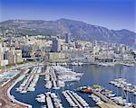 View over the harbour and city, Monte Carlo, Monaco, Cote d'Azur, Europe
