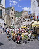 Cafes and cathedral, Amalfi, Amalfi Coast, Campania, Italy, Europe    Stock Photo - Premium Rights-Managednull, Code: 841-02705531