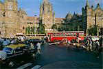 Traffic in front of the station, Victoria Railway Terminus, Mumbai (Bombay), Maharashtra State, India