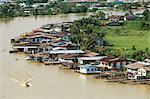 Stilt houses along Limbang River, Limbang City, Sarawak, island of Borneo, Malaysia, Southeast Asia, Asia