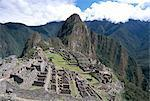 Classic view from Funerary Rock of Inca town site, Machu Picchu, UNESCO World Heritage Site, Peru, South America    Stock Photo - Premium Rights-Managed, Artist: Robert Harding Images, Code: 841-02706965