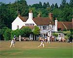 Village green cricket, Tilford, Surrey, England, UK