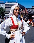 Woman in traditional costume, Oslo, Norway, Scandinavia, Europe