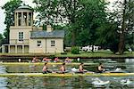 Coxless fours on the course, Henley Royal Regatta, Oxfordshire, England, United Kingdom, Europe