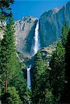 Waterfalls swollen by summer snowmelt at the Upper and Lower Yosemite Falls, in the Yosemite National Park, California, United States of America    Stock Photo - Premium Rights-Managed, Artist: Robert Harding Images, Code: 841-02708639