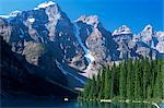 View to the Wenkchemna Peaks from the shore of Moraine Lake, Banff National Park, UNESCO World Heritage Site, Alberta, Canada, North America