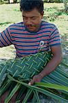 Portrait of a man basket weaving on Navini Island, Fiji, Pacific Islands, Pacific