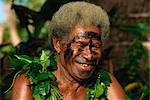 Portrait of an elderly villager at a kava ceremony in Daloma Village on Yasawa Island, Fiji, Pacific Islands, Pacific