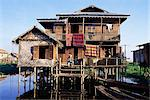 House on stilts of Shan family, Inle Lake, Shan States, Myanmar (Burma), Asia