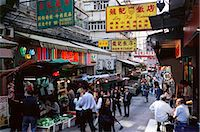 Shops and market stalls on Gage Street, Mid Levels, Hong Kong Island, Hong Kong, China, Asia    Stock Photo - Premium Rights-Managednull, Code: 841-02709837