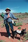 The last swagman, Drew Kettle, and his dog Laddie, in Australia, Pacific