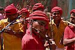 Flute players of the Bhil tribe at the Spring Festival, Kawant, Gujarat, India, Asia