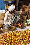Man weighing tomatoes on scales, Mapusa Market, Goa, India, Asia    Stock Photo - Premium Rights-Managed, Artist: Robert Harding Images, Code: 841-02711880