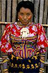 Portrait of a Cuna Indian woman, Rio Sidra, village of Namardua, San Blas archipelago, Panama, Central America
