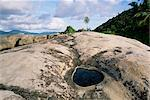 Small pool on rock, Ile Therese (Therese island), northwest coast, island of Mahe, Seychelles, Indian Ocean, Africa