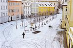 Snow covering Na Kampe Square, Kampa Island, Mala Strana suburb, Prague, Czech Republic, Europe    Stock Photo - Premium Rights-Managed, Artist: Robert Harding Images, Code: 841-02717045