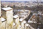 View of city from snow covered Gothic Hunger Wall on Petrin Hill, Mala Strana, Prague, Czech Republic, Europe    Stock Photo - Premium Rights-Managed, Artist: Robert Harding Images, Code: 841-02717046
