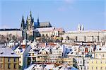 Prague Castle and houses of Mala Strana suburb in winter, Prague, Czech Republic, Europe    Stock Photo - Premium Rights-Managed, Artist: Robert Harding Images, Code: 841-02717048