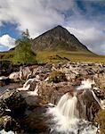 Waterfall on River Coupall, Buachaille Etive Mor in background, Glen Etive, near Glencoe, Highland region, Scotland, United Kingdom, Europe    Stock Photo - Premium Rights-Managed, Artist: Robert Harding Images, Code: 841-02720477