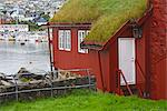 Sod roof (turf roof) building in historic Tinganes district, City of Torshavn, Faroe Islands (Faeroes), Kingdom of Denmark, Europe