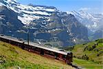 Train for Jungfraujoch, Kleine Scheidegg, Bernese Oberland, Swiss Alps, Switzerland, Europe