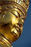 Close-up of the face of the golden Buddha at a new shrine near religious centre of Koyasan on Kii Peninsula, in western Honshu, Japan, Asia    Stock Photo - Premium Rights-Managed, Artist: Robert Harding Images, Code: 841-02722822