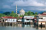 Stilt village and State Mosque in Kota Kinabalu, Asia's fastest growing city and capital of Sabah, northern tip of Borneo, Malaysia, Southeast Asia, Asia