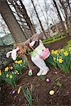 Little Girl Looking for Easter Eggs