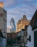 30 St Mary Axe, the Gherkin, City of London, 1997- 004. from Brick Lane. WINNER OF STIRLING PRIZE 2004. Architect: Foster and Partners    Stock Photo - Premium Rights-Managed, Artist: Arcaid, Code: 845-02724952